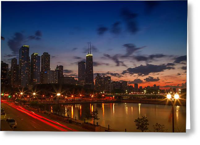 Chicago Sunset Greeting Card by Melanie Viola
