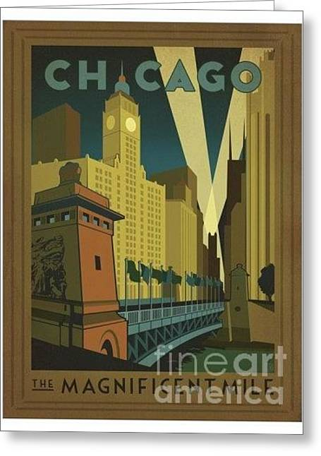 Chicago-the Magnificent Mile Greeting Card by Nostalgic Prints