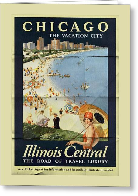 Chicago The Vacation City - Vintage Poster Folded Greeting Card