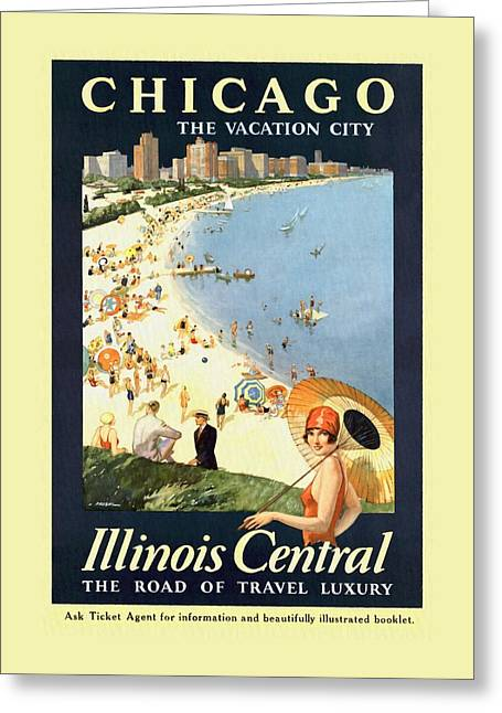 Chicago The Vacation City - Vintage Poster Restored Greeting Card