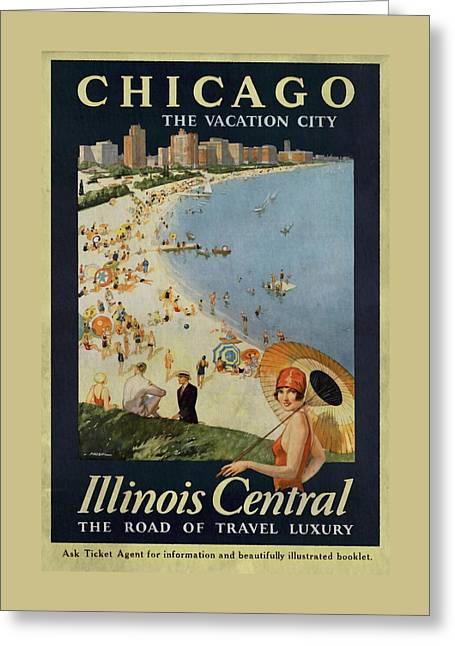 Chicago The Vacation City - Vintage Poster Vintagelized Greeting Card
