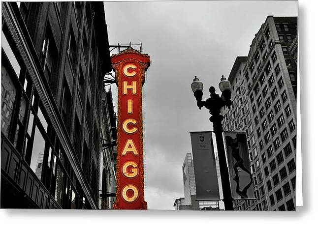 Chicago Theater In Black And White Greeting Card by Sheryl Thomas
