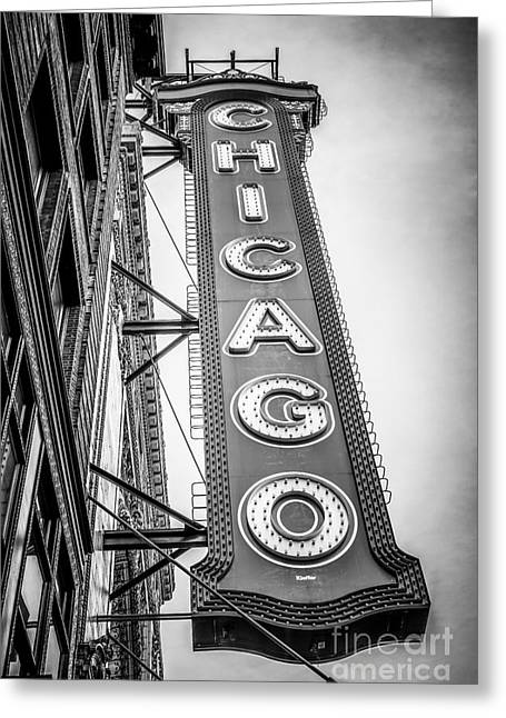 Chicago Theater Sign Black And White Picture Greeting Card by Paul Velgos