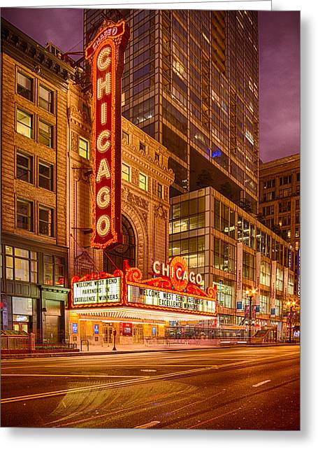 Chicago Theatre At Dusk - 175 North State Street - Chicago Illinois Greeting Card by Silvio Ligutti