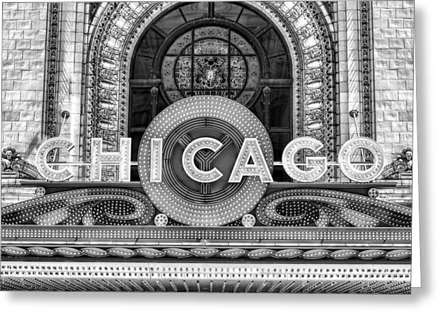 Chicago Theatre Marquee Sign Black And White Greeting Card