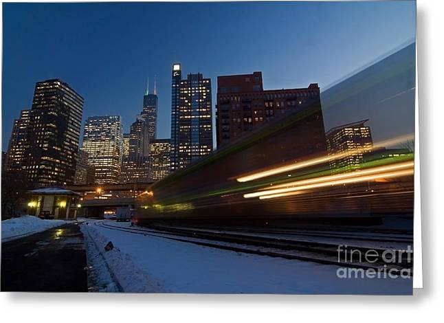 Chicago Train Blur Greeting Card by Sven Brogren