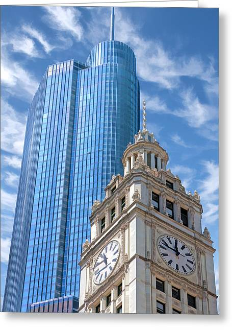 Greeting Card featuring the painting Chicago Trump And Wrigley Towers by Christopher Arndt