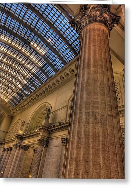 Chicago Union Station Column Greeting Card by Steve Gadomski