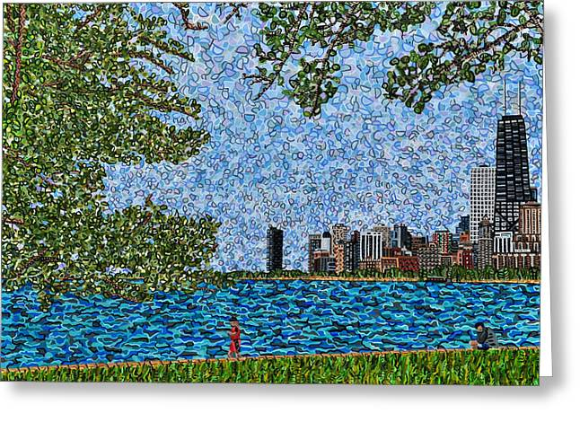 Chicago - View From Lakefront Trail Greeting Card by Micah Mullen