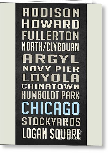 Chicago Vintage Subway Signs Greeting Card by Edward Fielding