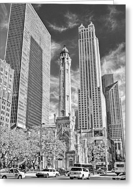 Chicago Water Tower Shopping Black And White Greeting Card by Christopher Arndt