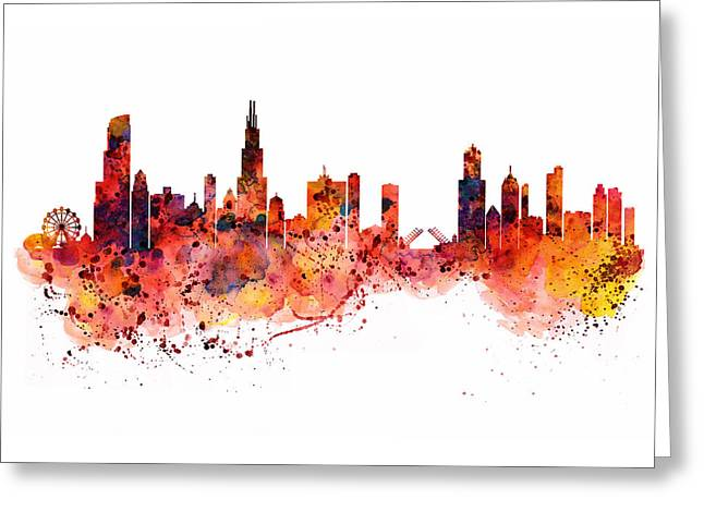 Chicago Watercolor Skyline Greeting Card