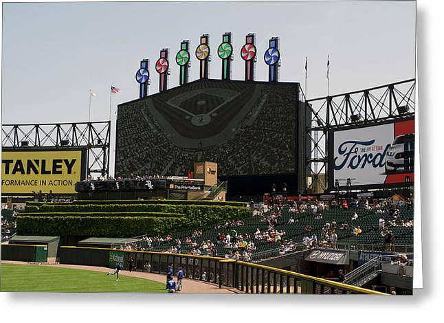 Chicago White Sox Bw Scoreboard Greeting Card by Thomas Woolworth