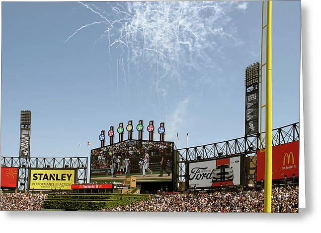 Chicago White Sox Homerun Fireworks Scoreboard Greeting Card by Thomas Woolworth