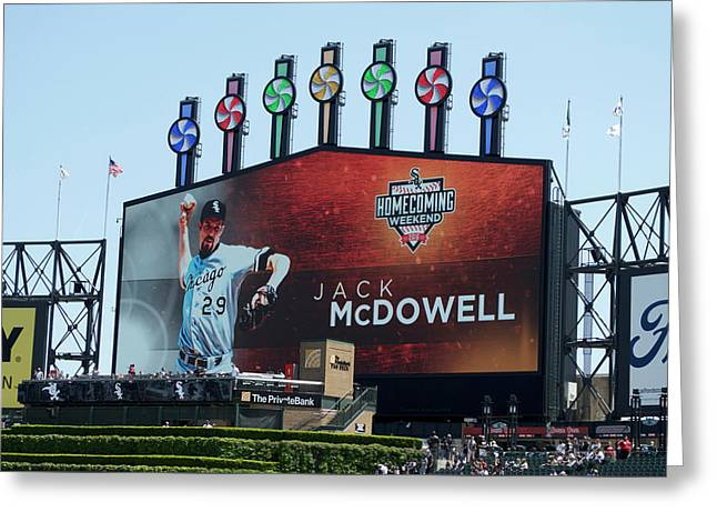 Chicago White Sox Jack Mcdowell Scoreboard Greeting Card by Thomas Woolworth