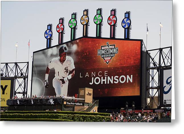 Chicago White Sox Lance Johnson Scoreboard Greeting Card by Thomas Woolworth
