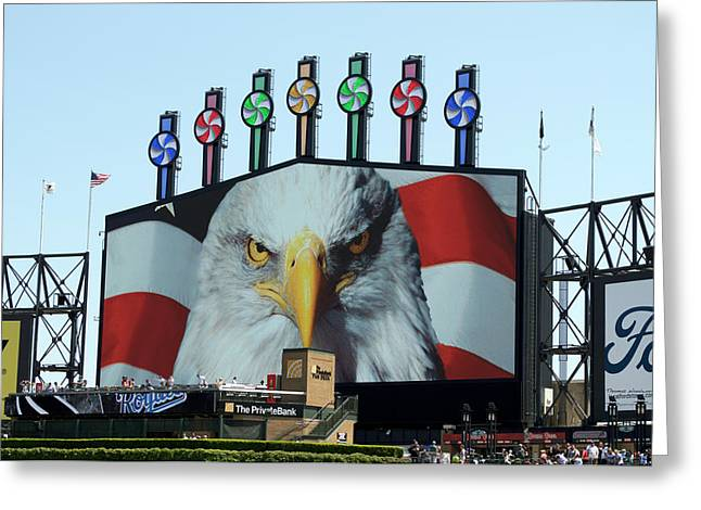 Chicago White Sox Usa Eagle Scoreboard Greeting Card by Thomas Woolworth