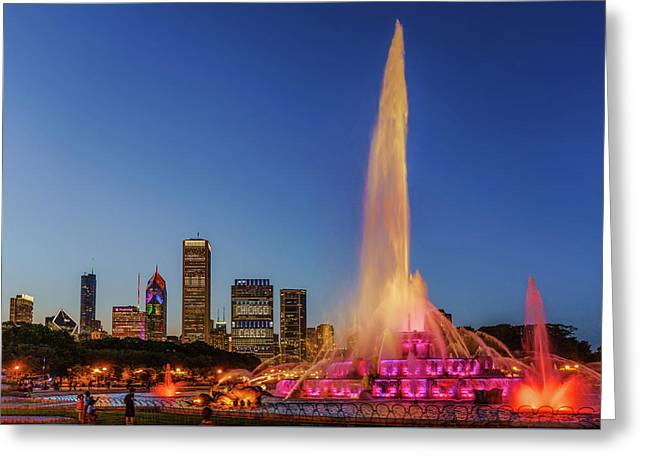 #chicagocares - Buckingham Fountain Rainbows Greeting Card by Scott Campbell