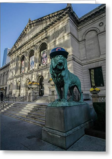 Chicago's Art Institute With Cubs Hat Greeting Card by Sven Brogren