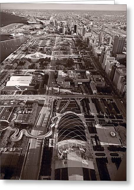 Chicagos Front Yard B W Greeting Card by Steve Gadomski