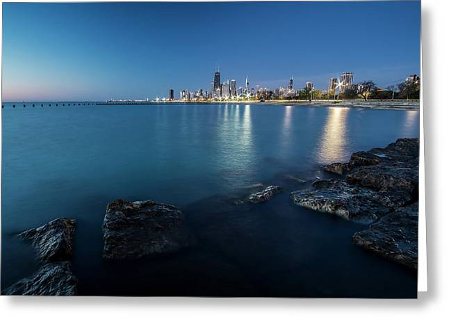 Chicago's Lakefront And Skyline At Dawn  Greeting Card