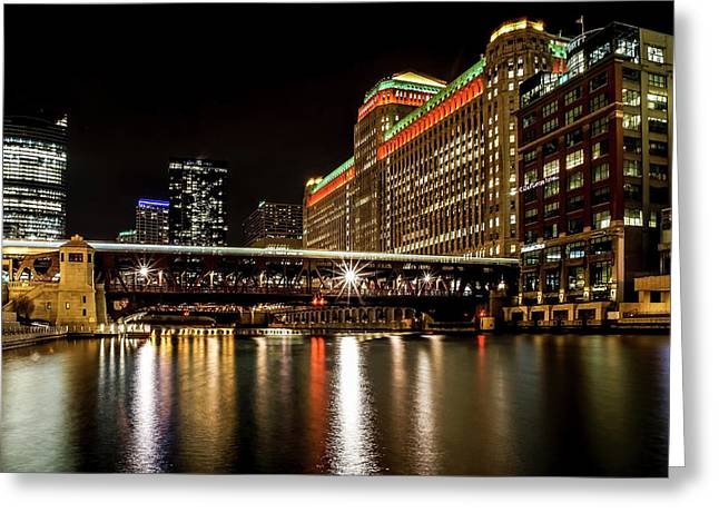 Chicago's Merchandise Mart At Night Greeting Card