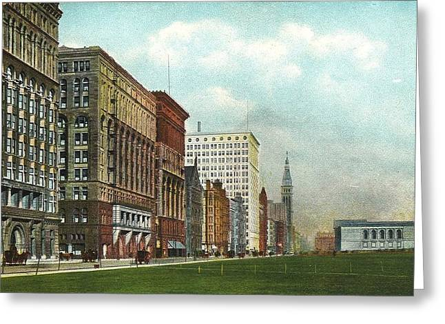 Chicago's Michigan Avenue Looking North From Congress Greeting Card