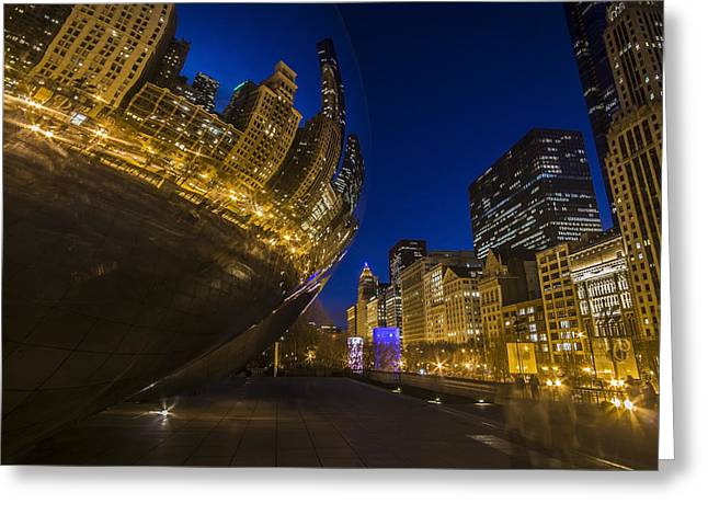 Chicago's Millenium Park At Dusk Greeting Card