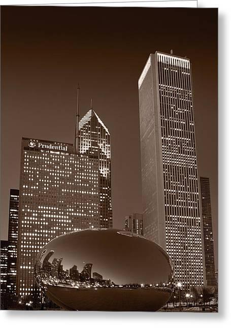 Chicagos Millennium Park Bw Greeting Card by Steve Gadomski
