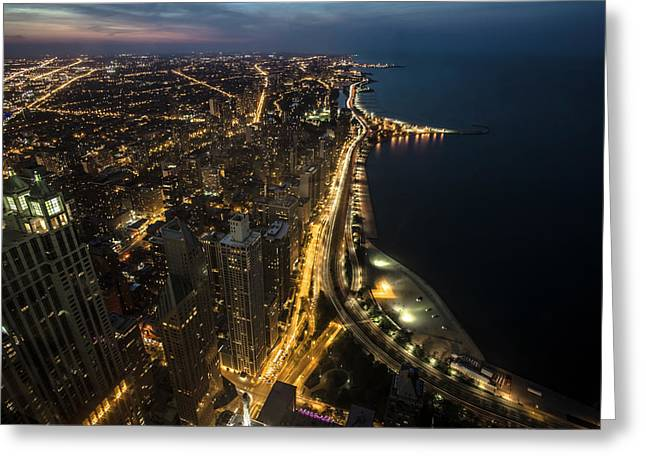 Chicago's North Side From Above At Night  Greeting Card