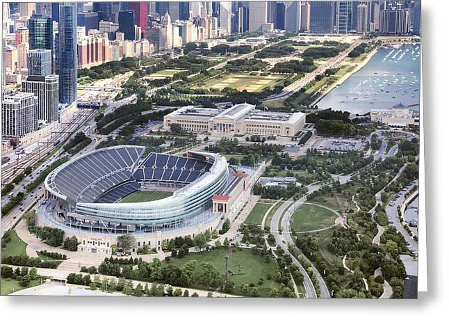 Chicago's Soldier Field Greeting Card by Adam Romanowicz