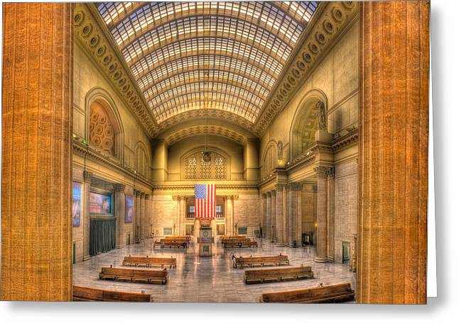 Chicagos Union Station Greeting Card by Steve Gadomski