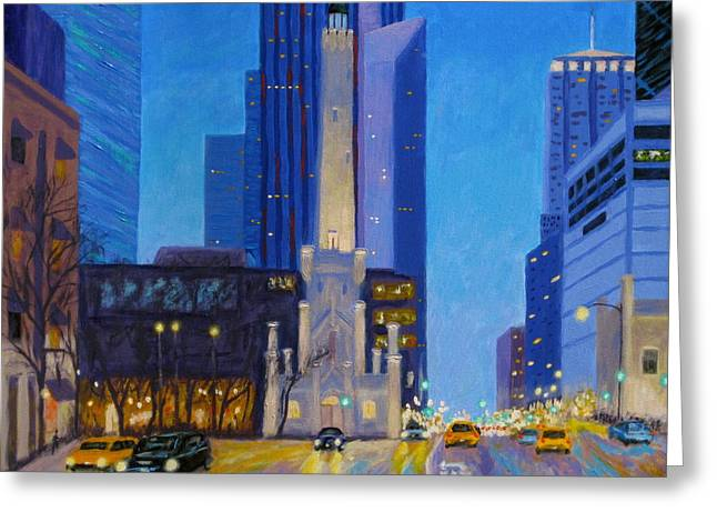 Chicago's Water Tower At Dusk Greeting Card by J Loren Reedy