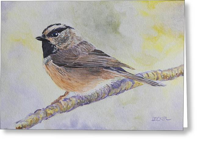 Greeting Card featuring the painting Chickadee 2 by Robert Decker
