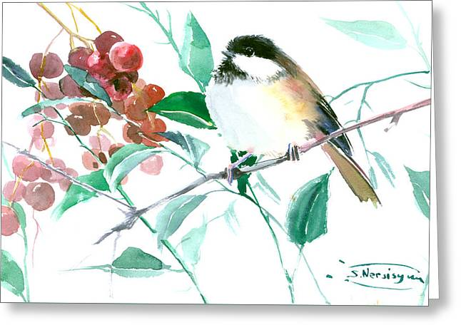 Chickadee And Berries Greeting Card by Suren Nersisyan