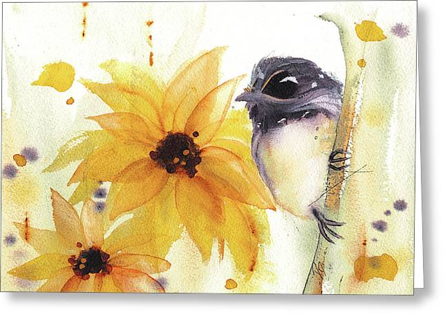 Chickadee And Sunflowers Greeting Card