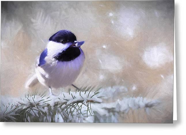 Chickadee And The Sunflower Seed Greeting Card by Barbara Hymer