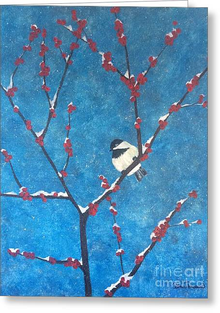 Greeting Card featuring the painting Chickadee Bird by Denise Tomasura