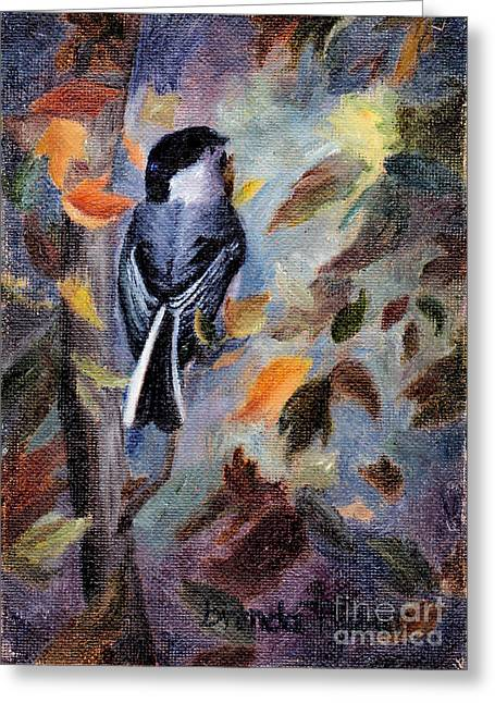 Greeting Card featuring the painting Chickadee In The Fall by Brenda Thour