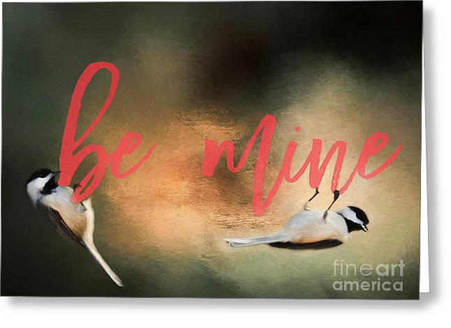 Greeting Card featuring the photograph Chickadee Love by Darren Fisher
