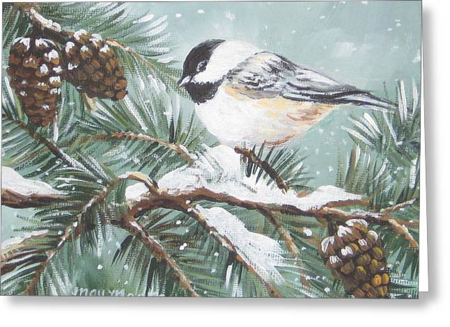 Chickadee Greeting Card by May Moore