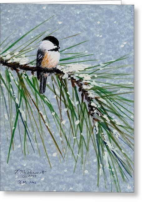 Chickadee Set 8 - Bird 1 - Snow Chickadees Greeting Card by Kathleen McDermott