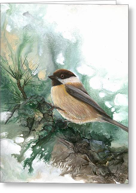 Greeting Card featuring the painting Chickadee by Sherry Shipley