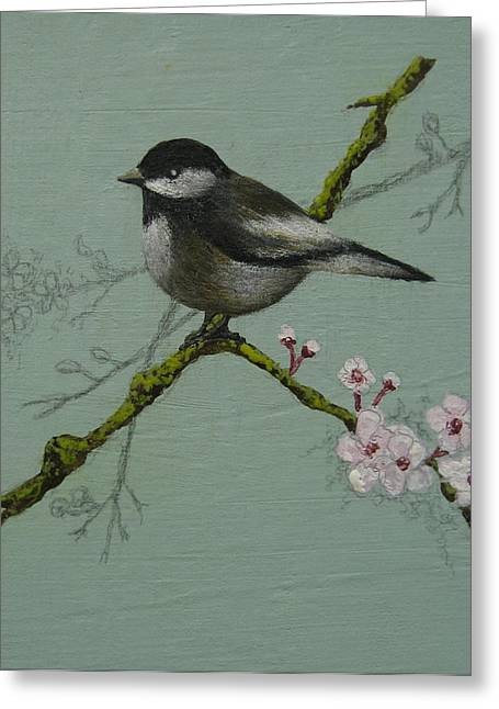 Chickadee Greeting Card by Victoria Heryet