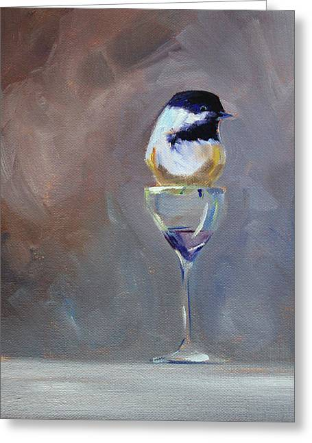 Chickadee Wine Greeting Card