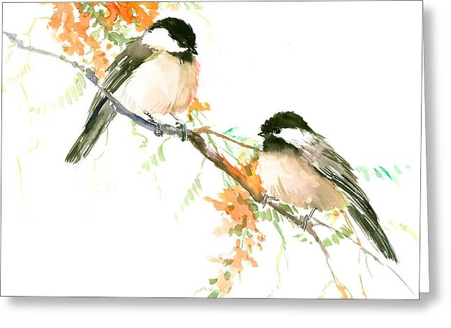 Chickadees And Orange Flowers Greeting Card