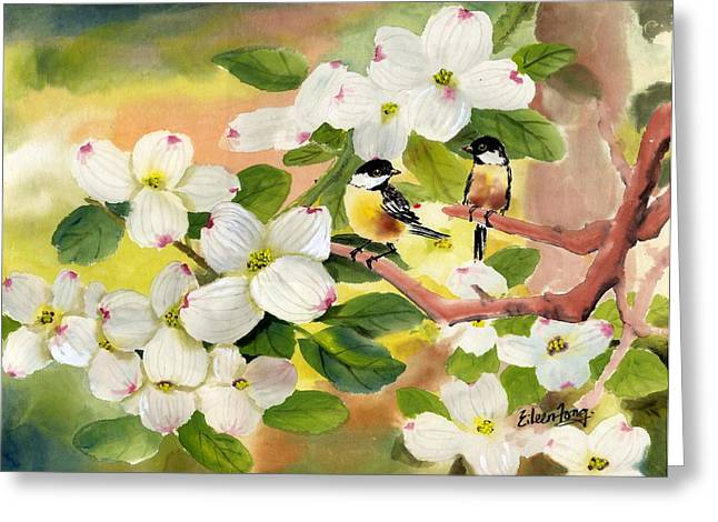 Chickadees In The Dogwood Tree Greeting Card by Eileen  Fong