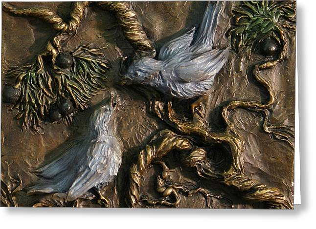 Greeting Card featuring the relief Chickadees On Juniper With Berries  by Dawn Senior-Trask