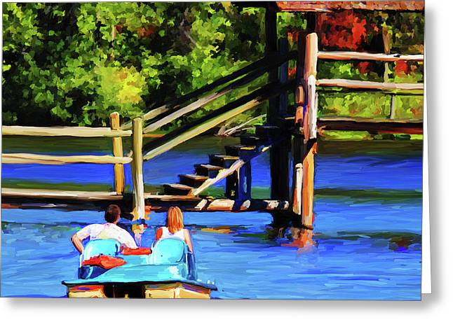 Chickasaw Pedal Boat - Square Greeting Card by Jai Johnson