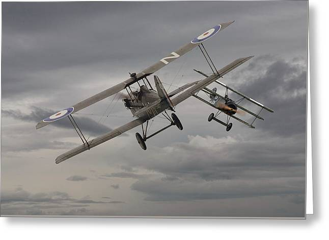 Chicken  - 1 Se5 And Fokker Dr1 Greeting Card by Pat Speirs